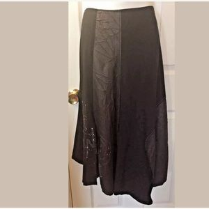 GUZELLA Black Skirt Avant-Garde Faux Leather Artsy